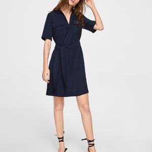 Mango Navy Blue V-Neck Short-Sleeve Belted Dress